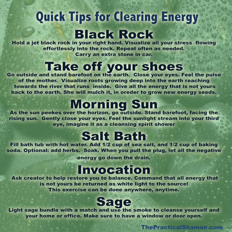 Quick tips for Clearing Energy