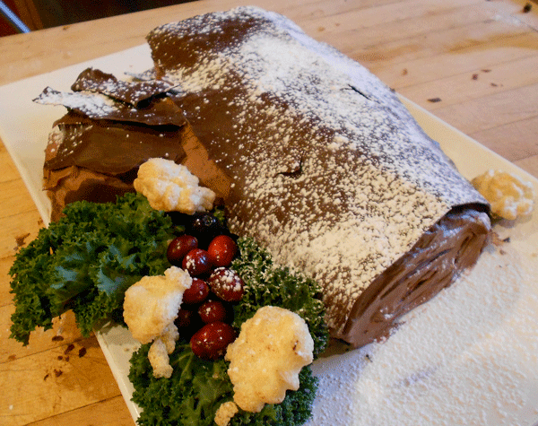 Holiday Chocolate Yule Log with a Rum Buttercream