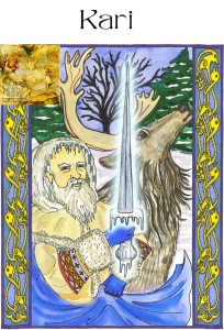 Art by Raven Kaldera. Kari ancient Norse Wind God